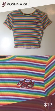990969de584c F21 CROP TOP Rainbow crop top. Worn once for a 90s bar crawl! Forever