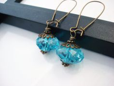 Aqua Blue Drop Earrings Bright Blue Earrings by snowingstars, $10.00