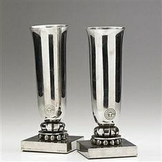 Designed by George Bastard, Edgar Brandt+ Follow this Artist Pair of nickel-plated vases designed for the French ocean liner S.S. Normandie
