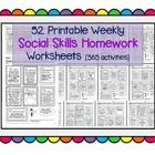 Much Needed! This pack contains 52 pages of social skills take-home worksheets (in PDF format), each of which in turn contains 7 exercises/activities. That mean...