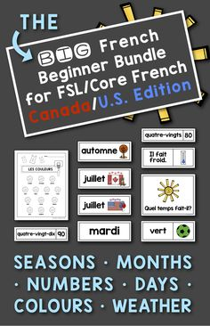 French Flash Cards: Numbers, Colors, Weather, Months, Seasons for Canada/US