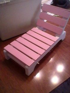this is a chaise or poolside type chair for american girl size dolls. it is 16 long 8 in tall wide the seat height is 3 in. the frame is pine the top crosspieces are inch the base is white the top is pink. also available in all white. any questions ask. American Girl Furniture, Girls Furniture, Diy Barbie Furniture, Dollhouse Furniture, Girls Dollhouse, Diy Dollhouse, Diy Popsicle Stick Crafts, American Girl Crafts, American Girls