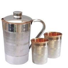 Luxury Copper Water Jug & Glass Indian Ayurveda With Steel Coated Outside #SilentWalk
