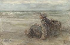Jozef Israel  vissersmeisje op het strand