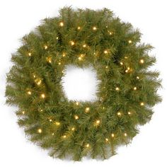 National Tree NF30824WB 24Inch Norwood Fir Wreath with 50 Concave Soft White LED lightsBattery OperatedTimer ** This is an Amazon Affiliate link. Continue to the product at the image link.
