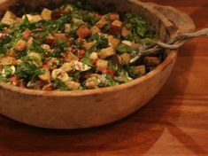 Panzanella Salad with Spinach -- Vegan if made without cheese