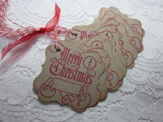 Handmade Vintage Style Gift Tag  Merry Christmas to by wkburden, $4.99