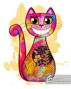 Ilustración de Gato Sonriente Clementino por JuliaRomanArt en Etsy, $25.00