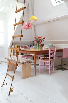 Rope ladder in the dining room. It could become a thing. How about for the casita bunk loft? Home Interior, Interior Architecture, Interior And Exterior, Interior Decorating, Interior Design, Modern Interior, Decorating Ideas, Living Room Designs, Living Spaces