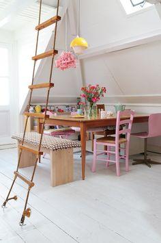 Une maison de Peter pan : une échelle qui monte sur le toit pour les éternels enfants