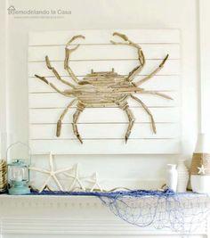 Summer - Coastal mantel with driftwood crab art