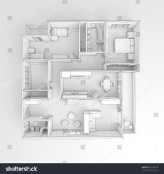 Freehand Sketch Drawing Of White Furnished Home Apartment
