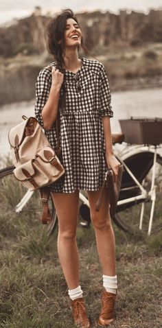 vintage bag beige boots brown socks white sunglasses dress apparel style clothing women fashion outfit