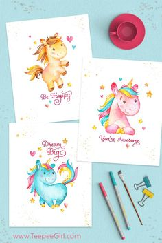 Grab These Free 8x10 Unicorn Printables At TeepeeGirl Birthday Cards