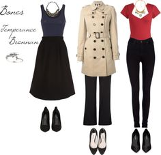 Character Style - Temperance Brennan, Bones . The red shirts and pants and possibly the long jacket outfit
