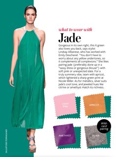 Color Crash Course - What to Wear with Jade Colour Combinations Fashion, Color Combinations For Clothes, Fashion Colours, Colorful Fashion, Color Combos, Color Schemes, Quoi Porter, Color Pairing, Fashion Advice
