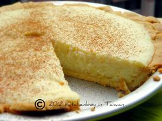 "Melktert (translated as ""milk tart"" in English) has been made in South Africa since the time of the Dutch settlers in the Cape and consists basically of a sweet crust, filled with a milk and egg custard. Although similar to a traditional European custard tart or Chinese egg tart, it contains a higher ratio of milk, so it is lighter in colour and texture and has a stronger milk flavour."