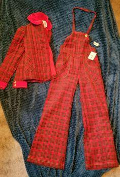 "Vintage Betsey Johnson ""Kids"" Plaid Christmas Overalls & Jacket, W/Original Tags #BetseyJohnson"