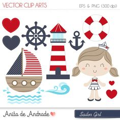 Sailor Girl Digital Clipart Vector - Personal and Commercial Use - Marine and red, Cute navy art - Kit Scrapbook, Nautical Clipart, Cup Art, Baby Girl Nursery Decor, Nautical Party, Paper Embroidery, Cute Doodles, Vector Clipart, Watercolor Illustration