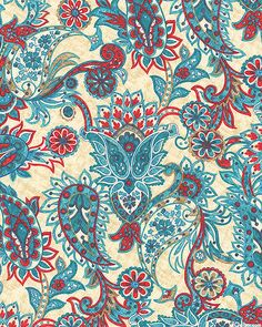 Kashmir - Mountain Flower Paisley - Almond from the 'Kashmir' collection by Rosemarie Lavin Design for Windham Fabrics
