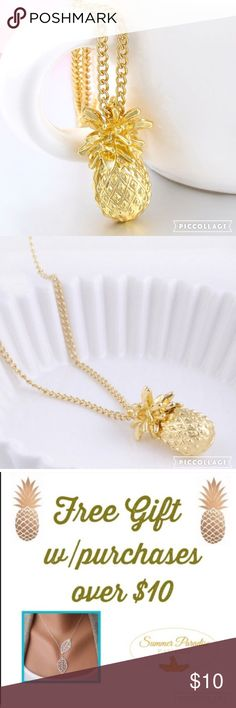 🎉BOGO 50% SALE!💠NWT GOLD PINEAPPLE NECKLACE Fun & unique gold plated pineapple necklace! 24 inches with 2 inch extender.                                    💠BOGO 50% OFF! Buy 1 item and get 2nd item of equal or less price at 50% OFF! Ask for a BOGO 50 bundle listing for your selections!                  💠FREE GIFT with purchases over $10!                TAGS: Gold Pineapple Necklace, Tropical Necklace Summer Paradise Jewelry Necklaces