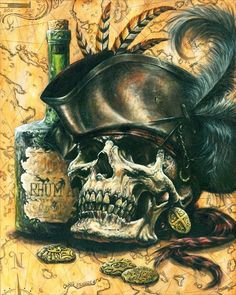 Pirate Skull (better image) by Spencer-art on DeviantArt Pirate Art, Pirate Life, Pirate Ships, Pirate Skull Tattoos, Pirate Rum Tattoo, Pirate Mermaid Tattoo, Pirate Tattoo Sleeve, Pirate Ship Tattoos, Bateau Pirate