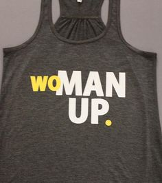 Gym Workout Tank Top GRAY Yellow & White WOMAN by 2ndStDesignsLB, $22.00