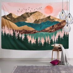 Sevenstars Mountain Tapestry Forest Tree Tapestry Sunset Tapestry Nature Landscape Tapestry Wall Hanging for x inches) Tapestry Nature, Tree Tapestry, Tapestry Bedroom, Tapestry Wall Hanging, Dorm Tapestry, Tapestry Weaving, Tapestry Headboard, Colorful Tapestry, Bedroom Wall