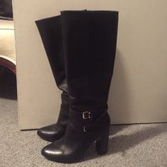 "Knee High Black Heeled Boots! Knee high black boots with chunky heels. Worn only a handful of times (see bottoms in photo) with no major scratches and no holes/tears. In excellent condition. Zippers inside. 4"" heel. From very bottom to very top, it's a little under 19"" Ava & Aiden Shoes Heeled Boots"