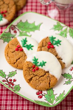 Read More About White Chocolate Dipped Ginger Cookies - Cooking Classy Best Christmas Cookies, Christmas Sweets, Christmas Cooking, Holiday Cookies, Holiday Treats, Holiday Recipes, Santa Cookies, Christmas Dishes, Christmas Foods