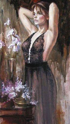 """I'm waiting my girlfriend - Art by Irene Sheri - Board """"Art - Women in Black"""" - Woman Painting, Painting & Drawing, Portrait Art, Portraits, Beauty In Art, Malcolm Liepke, Art Moderne, Beautiful Paintings, Erotic Art"""