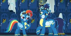"RariDash: I must tell you how much I just love these uniforms. Why, ever since I was a foal, I've admired the mixture of bold lines and classic contours. They don't call me ""Rainbow Fash"" for nothing. Rainbow Dash And Soarin, The Mimic, Aqua Teen Hunger Force, Tiny Horses, Undertale Pictures, Little Poni, Imagenes My Little Pony, Magic S, Mlp Pony"