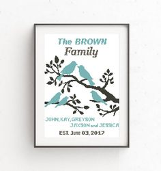 Wedding  and Family Tree Cross Stitch Pattern. Personalized PDF Printable Wedding Gift.  Birds Moder