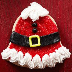 Bell-Shape Santa Sugar Cookies  From Better Homes and Gardens, ideas and improvement projects for your home and garden plus recipes and entertaining ideas.