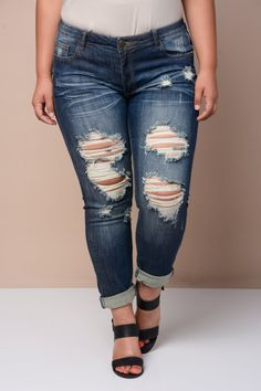 Plus Size Destroyed Boyfriend Jeans | Cute Styles | Pinterest ...
