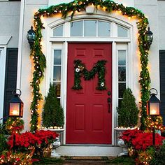 Tips for decorating your front door or porch for the holidays. (Make your own monogram wreath!) {via View Along the Way}