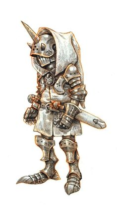 Sort of an armored goblin? I like the idea of a mob so heavily protected. Obviously traditional goblin craftsmanship isn't exactly on this level, but with exceptions... could be fun. Armor Creature Monster DnD