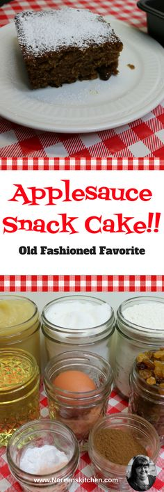 Today I want to share with you a quick and delicious applesauce snack cake that is easy to make and you just serve it right out of the pan you bake it in!  This one doesn't even have any frosting, icing or glaze on it.  We just enjoy this with a dusting of powdered sugar or nothing at all.  This cake is moist and flavorful and can be made from pantry staples.  This is a favorite from my childhood and we love it here!