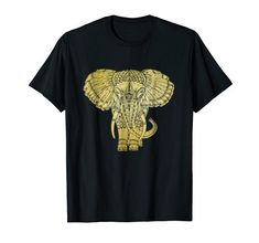 Gold Elephant Lover Mandala Yoga T-Shirt- This Elephant Lovers mandala design t-shirt in rich gold, is the perfect t shirt gift for elephant, animal, jungle wildlife, wild animals, and baby elephant lovers. Great t shirt gift idea for spiritual or yoga lovers, yogis or fitness workouts. Beautiful unisex t shirt to represent elephants in Asia, Africa and India. Also wonderful birthday or Christmas gift for mom, dad, daughter, son, sister, brother, aunt, niece, or co-worker. Amazon Merch, Dad Daughter, Christmas Gifts For Mom, Great T Shirts, Fitness Workouts, Baby Elephant, Mandala Design, Wild Animals, Elephants