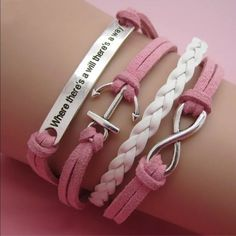 Where there's a will there's a way pink bracelet Infinity bracelet as pictured colors May look different on bracelet than picture shows. Sometimes it is hard to get an accurate picture. Bundle with another bracelet 2/$12. Jewelry Bracelets