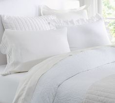Rustic Luxe™ Bedding - White | Pottery Barn - I like this, minus the pillow case with ruffles