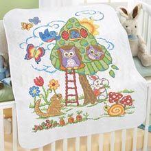 Modern Floral Bed Quilt Top Stamped Cross-Stitch - Herrschners ... : stamped cross stitch baby quilts - Adamdwight.com