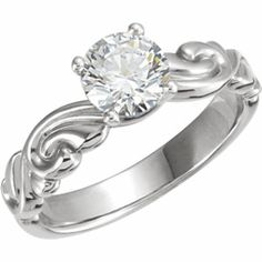 14kt White Gold Sculptural-Inspired Engagement Ring.  Find it at a jeweler near you: http://stuller.com/locateajeweler/