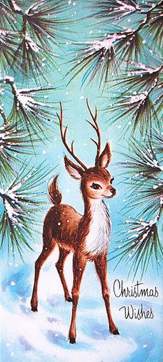 Vintage Christmas Card Woodland Deer in the Pines 1950s