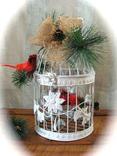 Image result for christmas bird cage decoration Diy Christmas Garland, Country Christmas Decorations, Christmas Bird, Christmas Lanterns, Christmas Projects, Xmas Decorations, Christmas Home, Christmas Holidays, Christmas Arrangements