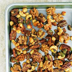 Make a sweet and spicy snack mix by coating mixed nuts in a mixture of sugar, Worcsteshire sauce, cayenne pepper, chili powder, and Parmesan cheese. This portable snack mix is perfect for tailgating or holiday entertaining.