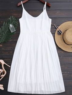 SHARE & Get it FREE | Chiffon Pleated Beach Slip Dress - WhiteFor Fashion Lovers only:80,000+ Items • New Arrivals Daily Join Zaful: Get YOUR $50 NOW!