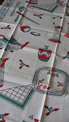 Vintage Linen Dish Towel Kitchen Theme by mydomesticities on Etsy, $9.99