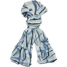 Pre-owned Valentino Blue Print Silk Ladies Scarves (200 CAD) ❤ liked on Polyvore featuring accessories, scarves, blue, floral shawl, floral print scarves, patterned scarves, tying silk scarves and multi colored scarves