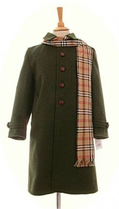 Children's traditional Loden coats in sizes 6 years to 10 years, including a check scarf . From the Pamela Mestre Collection Childrens Coats, Checked Scarf, 6 Years, Wool Coats, Traditional, Classic, Jackets, Collection, Green